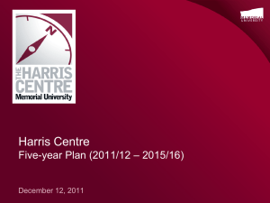 Harris Centre – 2015/16) Five-year Plan (2011/12 December 12, 2011