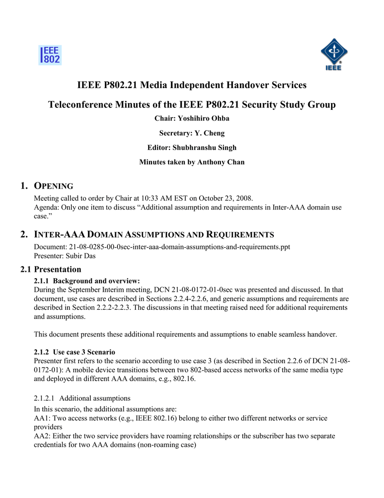 IEEE P802 21 Media Independent Handover Services