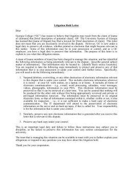 litigation hold letter dear