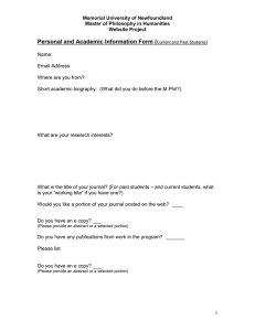 Personal and Academic Information Form (