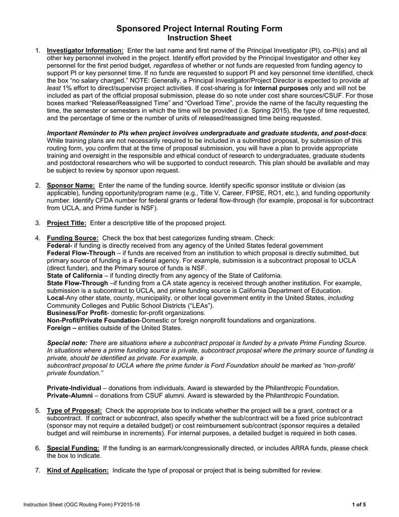 Sponsored Project Internal Routing Form Instruction Sheet