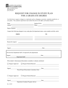 REQUEST FOR CHANGE IN STUDY PLAN FOR A GRADUATE DEGREE