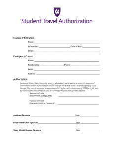 Student Travel Authorization Student Information
