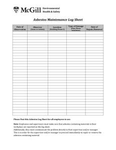 Asbestos Maintenance Log Sheet Environmental Health & Safety