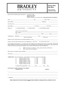 Please fill out the following form and return to: ... Department of Music Bradley University