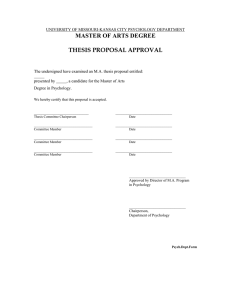 MASTER OF ARTS DEGREE  THESIS PROPOSAL APPROVAL