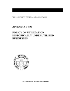 APPENDIX TWO POLICY ON UTILIZATION HISTORICALLY UNDERUTILIZED