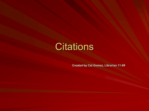Citations Created by Cat Gomez, Librarian 11-09