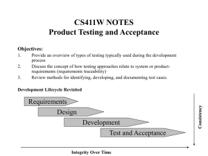 CS411W NOTES Product Testing and Acceptance Objectives: