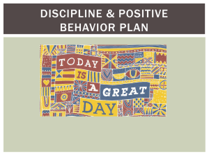 DISCIPLINE & POSITIVE BEHAVIOR PLAN