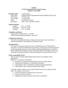 Syllabus CS 110: Introduction to Computer Science Fall 2013  CRN 11566