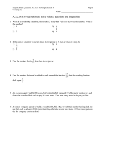 A2.A.23: Solving Rationals: Solve rational equations and inequalities