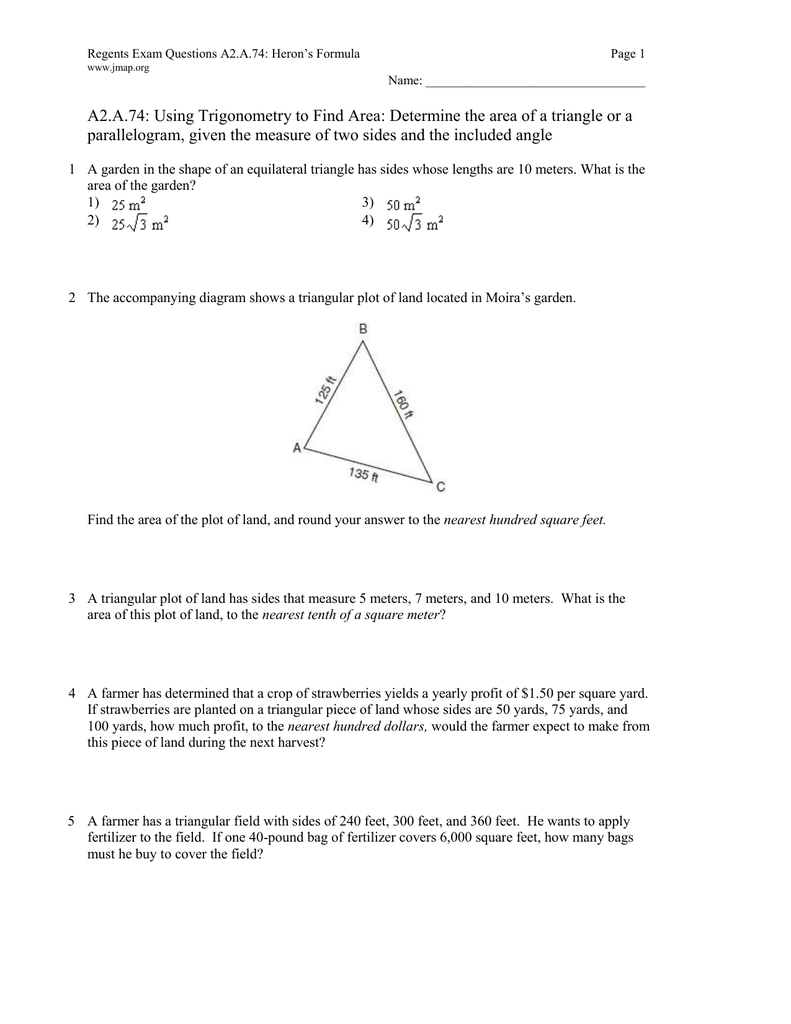 A74: Using Trigonometry To Find Area: Determine The Area Of Parallelogram,  Given The