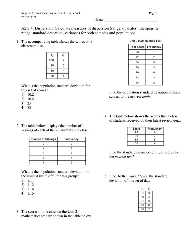 S4: Dispersion: Calculate Measures Of Dispersion (range, Quartiles,  Interquartile A2s4: