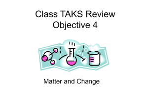 Class TAKS Review Objective 4 Matter and Change