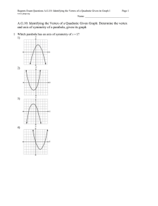 Regents Exam Questions A.G.10: Identifying the Vertex of a Quadratic... Page 1 Name: __________________________________