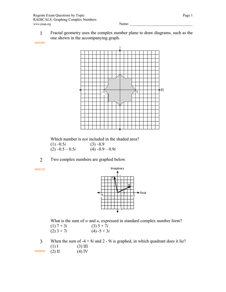 Regents exam questions by topic page 1 radicals graphing complex regents exam questions by topic page 1 radicals graphing complex numbers name falaconquin