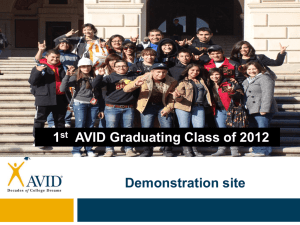 Demonstration site 1 AVID Graduating Class of 2012 st