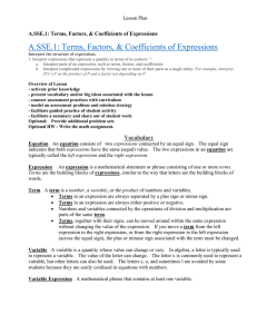 A.SSE.1: Terms, Factors, & Coefficients of Expressions Lesson Plan