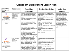 Classroom Expectations Lesson Plan H  Teaching