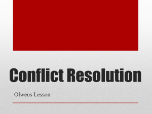 Conflict Resolution Olweus Lesson