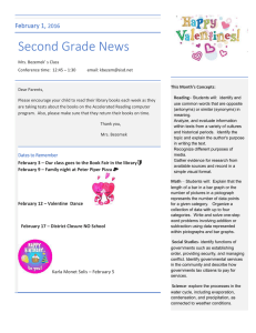 Second Grade News February 1, 2016