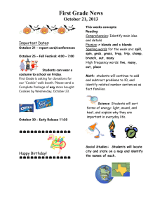 First Grade News October 21, 2013 