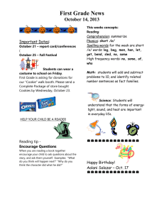 First Grade News October 14, 2013 