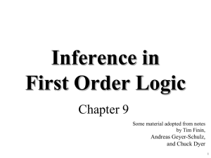 Inference in First Order Logic Chapter 9 Andreas Geyer-Schulz,