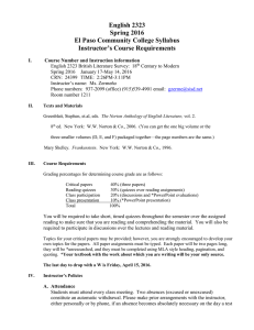 English 2323 Spring 2016 El Paso Community College Syllabus Instructor's Course Requirements