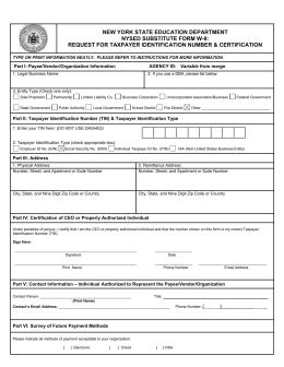 Vendor Information - W-9 Form