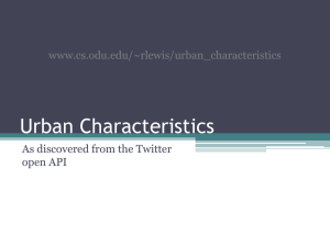 Urban Characteristics As discovered from the Twitter open API www.cs.odu.edu/~rlewis/urban_characteristics