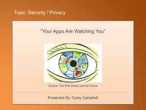 "Topic: Security / Privacy ""Your Apps Are Watching You"""