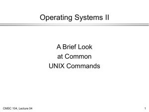 Operating Systems II A Brief Look at Common UNIX Commands