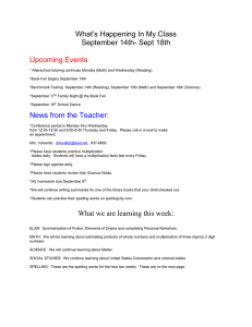 What's Happening In My Class September 14th- Sept 18th  Upcoming Events