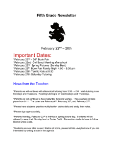 Important Dates:  Fifth Grade Newsletter – 26th