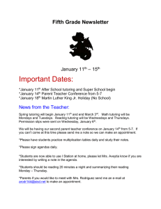 Important Dates:  Fifth Grade Newsletter – 15