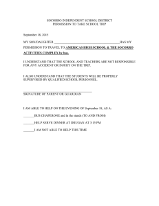 SOCORRO INDEPENDENT SCHOOL DISTRICT PERMISSION TO TAKE SCHOOL TRIP  September 18, 2015