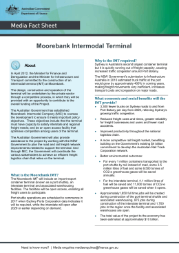 Moorebank Intermodal Terminal About Why is the IMT required?