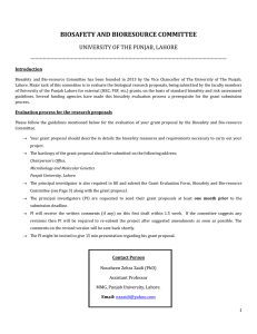 BIOSAFETY AND BIORESOURCE COMMITTEE  UNIVERSITY OF THE PUNJAB, LAHORE