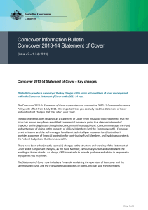 Comcover Information Bulletin Comcover 2013-14 Statement of Cover  – Key changes