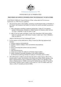 INSTRUMENT OF AUTHORISATION PROVISION OF OFFICE INFORMATION TECHNOLOGY TO SENATORS