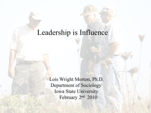Leadership is Influence Lois Wright Morton, Ph.D. Department of Sociology Iowa State University