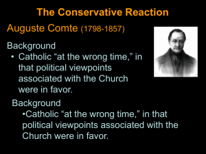 The Conservative Reaction Auguste Comte