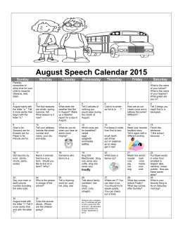 August Speech Calendar 2015 Sunday Monday Tuesday