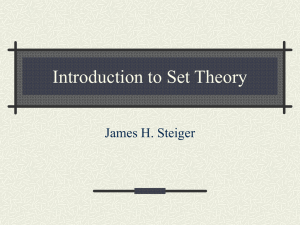 Introduction to Set Theory James H. Steiger