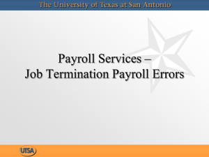 Payroll Services – Job Termination Payroll Errors