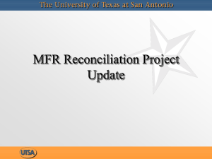 MFR Reconciliation Project Update