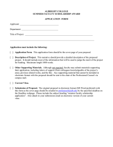 ALBRIGHT COLLEGE SUMMER FACULTY SCHOLARSHIP AWARD APPLICATION  FORM