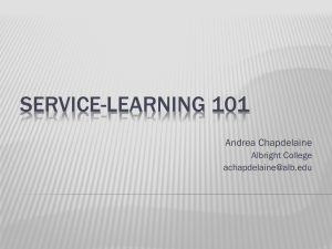 SERVICE-LEARNING 101 Andrea Chapdelaine Albright College